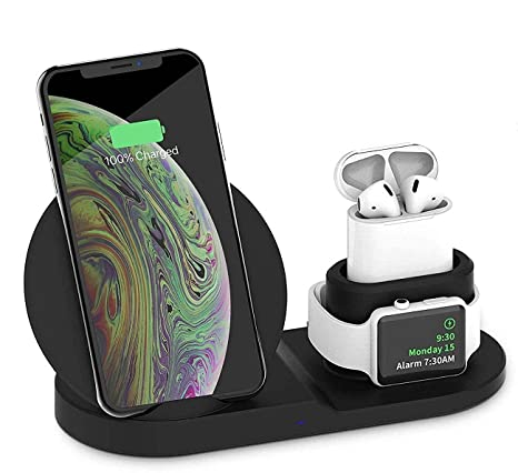 Xelsa 3 in 1 Wireless Fast Charging Station for Apple Watch Airpods Charger Dock Stand Compatible for iPhone X/XS/XR/Xs Max / 8/8 Plus Samsung Galaxy ...