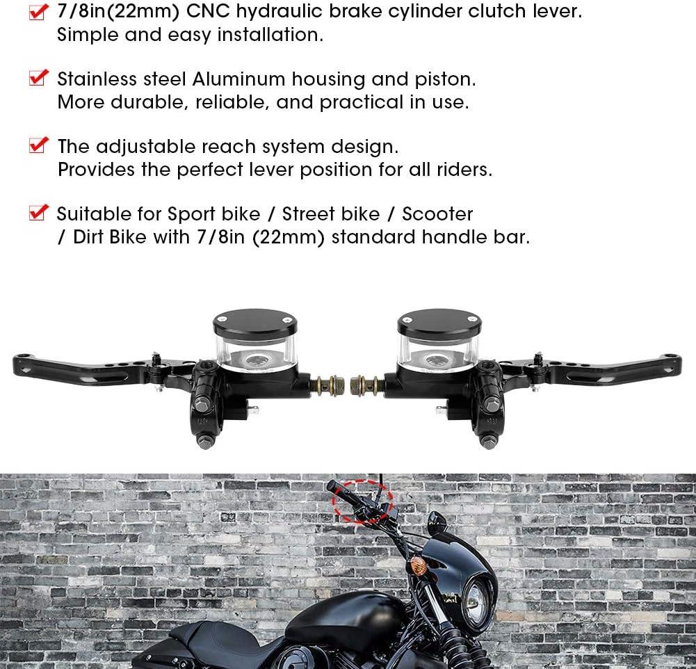 Clutch Lever 1 Pair Motorcycle Brake Clutch Levers Black Durable Aluminum Alloy Motorbike Brake Clutch Lever Cable Front Brake Brake Clutch Lever