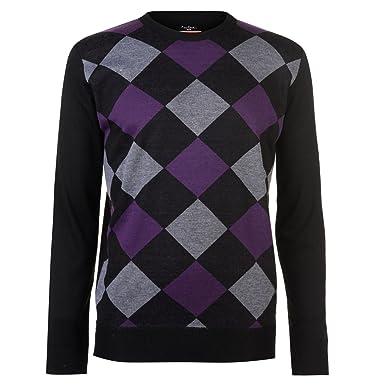 8ec58a05ae4d75 Pierre Cardin Mens New Season Argyle Knitted Jumper Crew Neck V Neck and Quarter  Zip (2XL, Velvet/Charcoal): Amazon.co.uk: Clothing