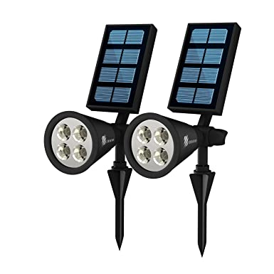 Review Waterproof Solar Garden Lights - Battery Powered Outdoor Sensor LED Lighting - Wall, Yard, Pool, Patio, Lawn or Driveway Mounting Lanterns - Pack of 2