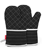 esonmus Heat Resistant Silicone Oven Gloves Non-Slip Oven Mitts for Kitchen Cooking Baking Grilling Barbecue-Black Plaid