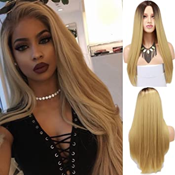 Amazon Com Rossy Nancy Two Tone 4 Light Brown Dark Roots Ombre