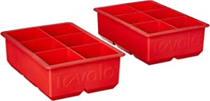 "Tovolo Inch Large King Craft Ice Mold Freezer Tray of 2"" Cubes for Whiskey, Bourbon, Spirits & Liquor Drinks, BPA-Free Silicone, Set of 2, Candy Apple"