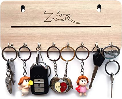 7cr Wooden Wall Key Holder    22x12 cm, Light Brown  Wall Key Holders