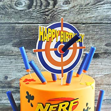 Amazing Amazon Com Gmakceder Happy Birthday Nerf Cake Topper Kitchen Personalised Birthday Cards Veneteletsinfo