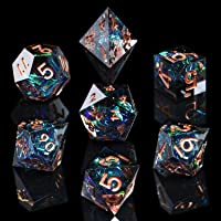 AUSPDICE DND Dice Set Handcrafted Designer 7-Die Polyhedral RPG Dice Set with Sharp Edges and Beautiful Inclusions for…