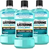 LISTERINE Zero Alcohol Mouthwash, Mild Mint, Pack of 3 x 500ml