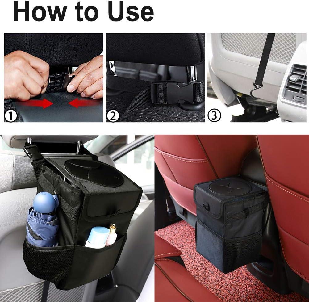 Garbage Bag with Lid and 3 Storage Pocket Kartisen Waterproof Car Trash Can 100/% Leak-Proof Vinyl Inside Lining Black