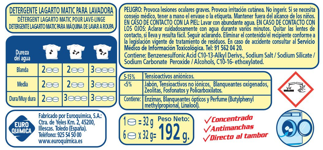 Lagarto Detergente en Pastilla para Lavadora 6p. Paquete de ...