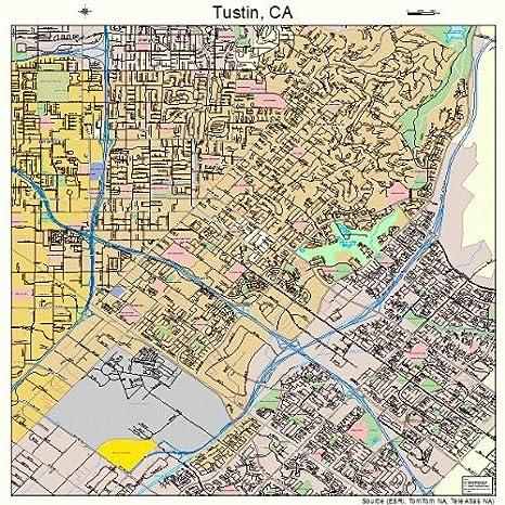 Amazon.com: Large Street & Road Map of Tustin, California CA ... on city of rialto ca map, pasadena st tustin ca map, orange county tustin ca map,