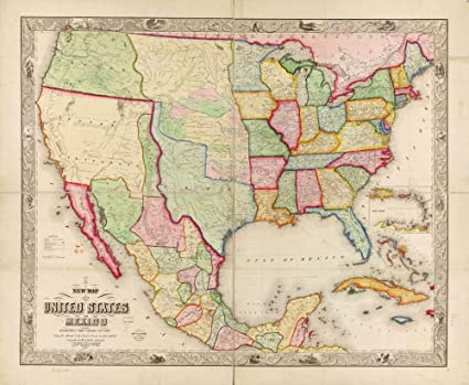 Amazon.com: Vintage 1847 Map of New map of The United States and ...