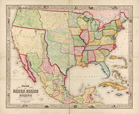 Amazon.com: Vintage 1847 Map of New map of The United States ...