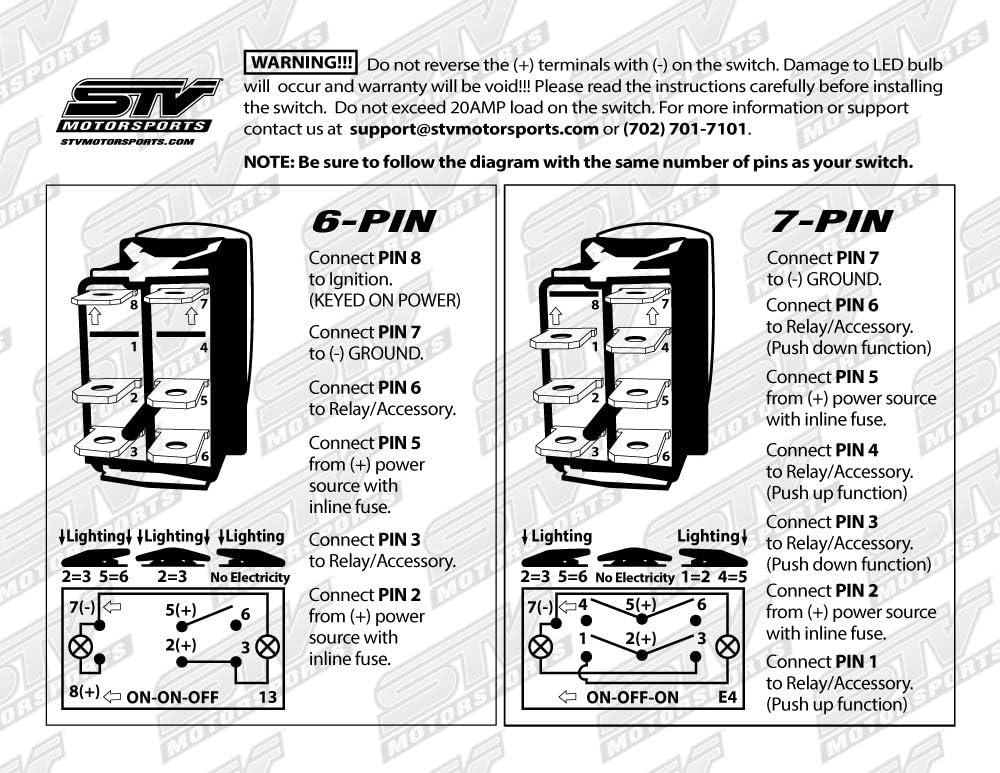 Amazon Com Stvmotorsports Blue Auto Rocker Switch Off On On 12v Led Light 3 Positions 6 Pin Waterproof For Led Light Bar Off Road Automotive