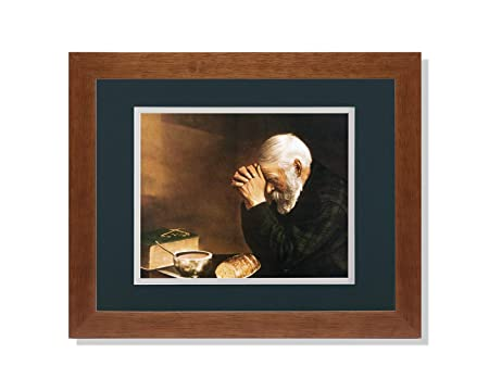 Art Prints Inc Daily Bread Man Praying at Table Grace Religious G C Matted Picture Honey Framed