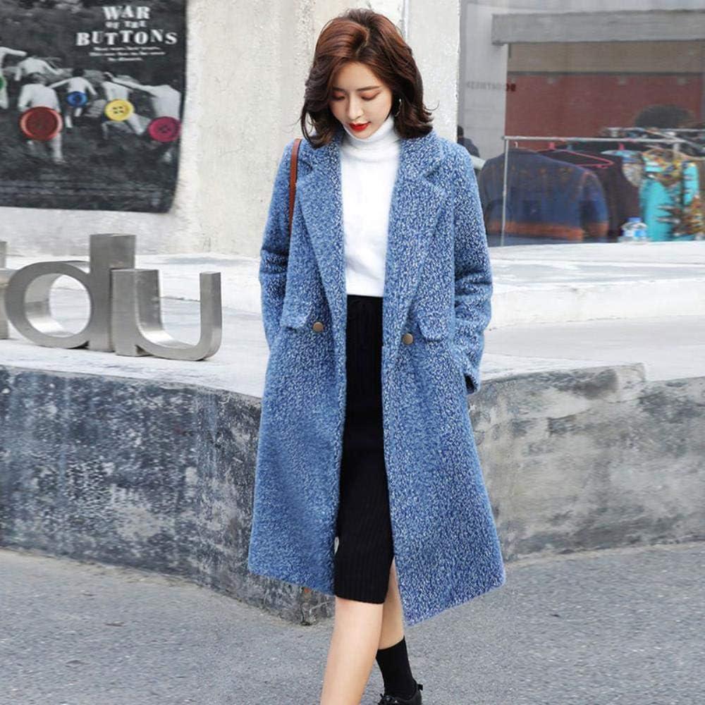 COMPY Giacca da Donna Manica Lunga Bavero Slim Lady Cappotto in Lana Autunno Inverno Tasche da Donna Cappotti da Ufficio Cappotti Lunghi Moda Pink