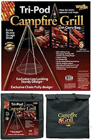 Wilcor Campfire Tri-Pod Grill (Adjustable Height & Quick Setup)