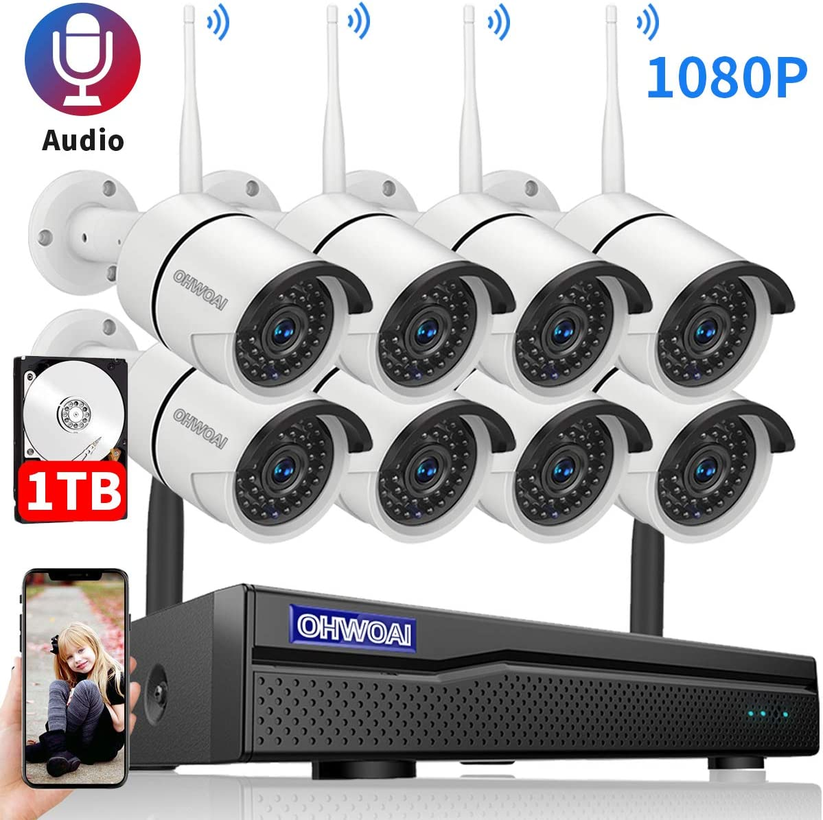 OHWOAI 【2020 Update.Audio】 Security Camera System Wireless, 1TB Hard Drive Pre-Install 8 Channel 1080P NVR, 8PCS 1080P 2.0MP CCTV WI-FI IP Cameras for Homes, HD Surveillance Video Security System.