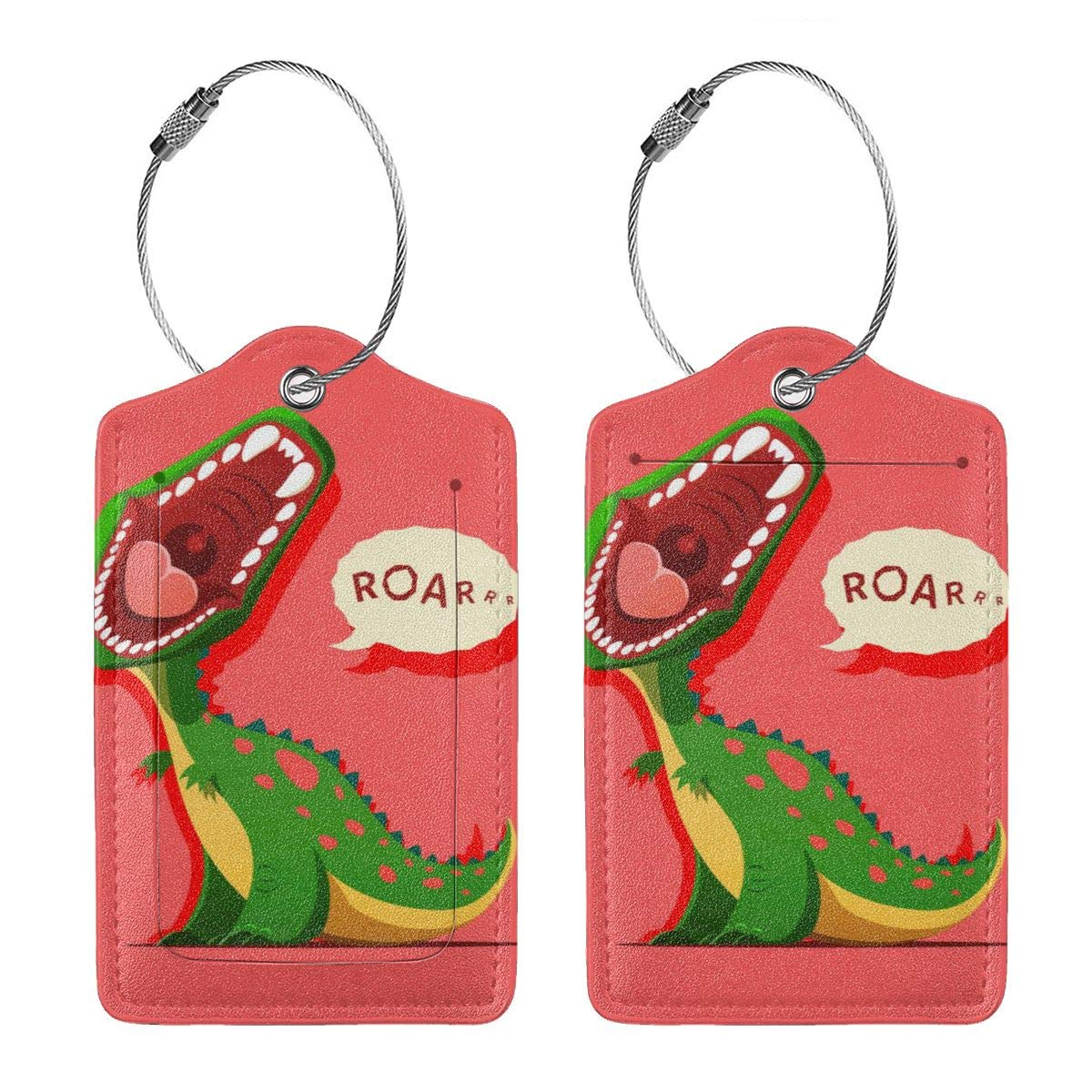 Lucaeat Dinosaur Is Roaring Luggage Tag PU Leather Bag Tag Travel Suitcases ID