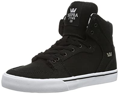 c1c5e51fd79a Supra Vaider Skate Shoe - Kids  Black Canvas White Accents