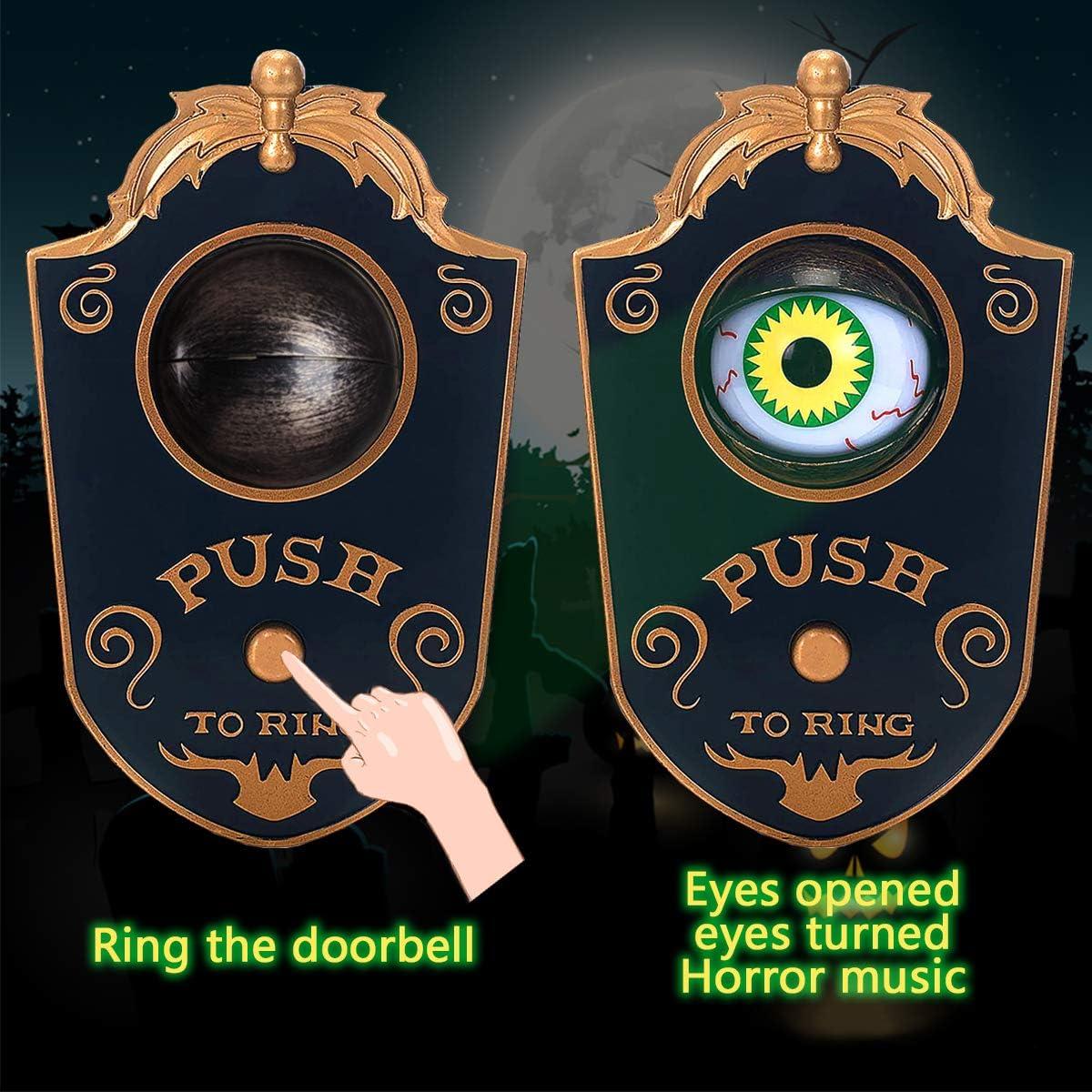 Haunted House Halloween Party Prop Decoration Haunted Doorbell Animated Eyeball Halloween Decor with Spooky Sounds Halloween Doorbell Trick or Treat Event for Kids Halloween Decoration