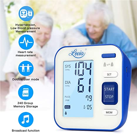 Amazon.com: Blood Pressure Monitor, Lovia Automatic Digital Blood Pressure Monitor Upper Arm with Blood Pressure and Pulse Rate for Home Use, 2 * 120 Memory ...