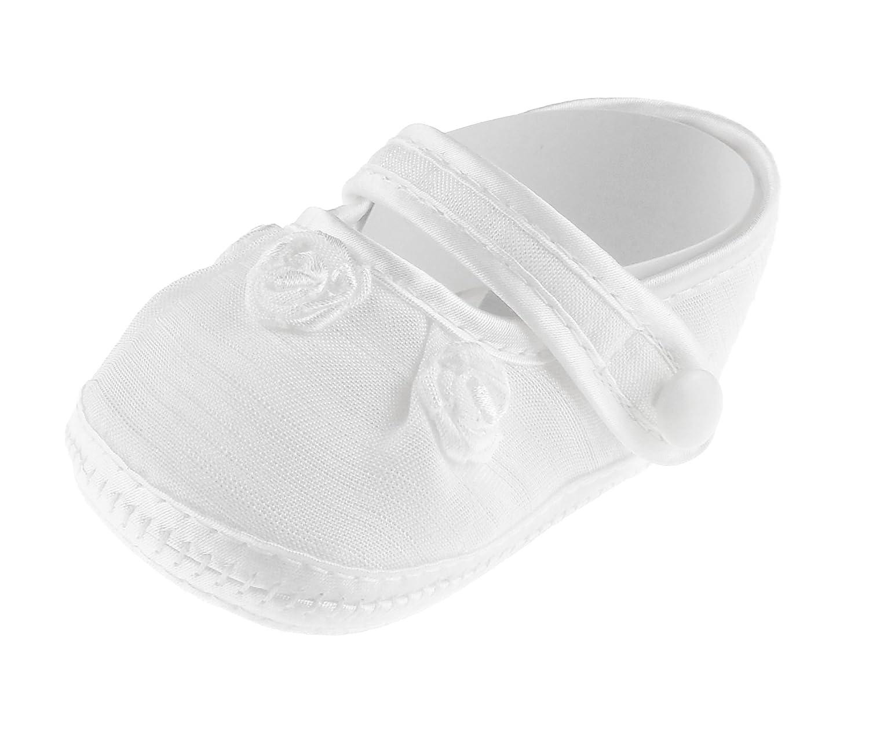 Bébé Garçons Filles Blanc à lacets Chaussures de baptême Chaussons Rosace Sandale