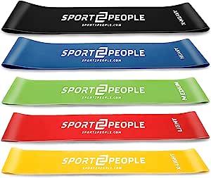 sport2people Juego de Bandas de Ejercicio con 2 Libros electrónicos de Ejercicios para fortalecimiento Muscular y Fisioterapia – Mini Fitness Bandas ...