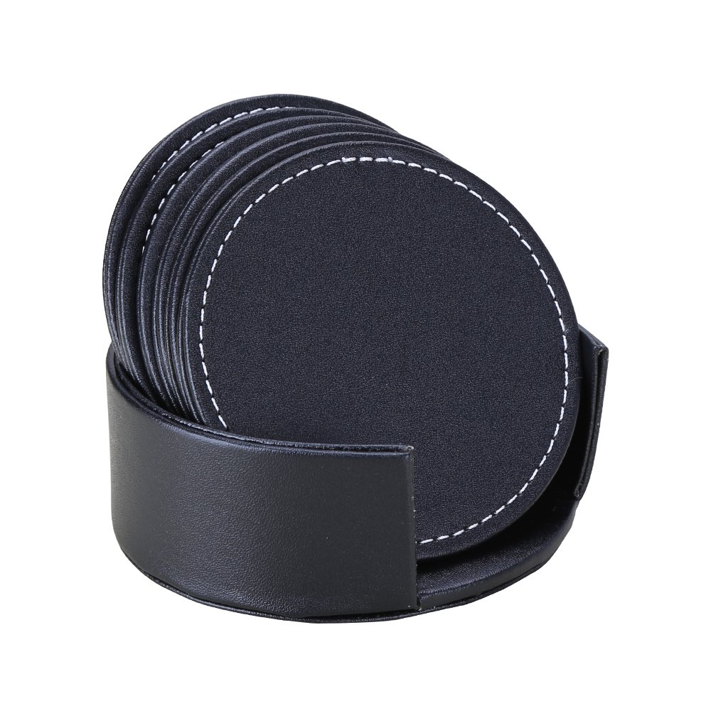 KINGFOM Set of 6 Coasters with Holder for Drinks Leather Tabletop Protection Cup Mat Coasters (Round-Black)
