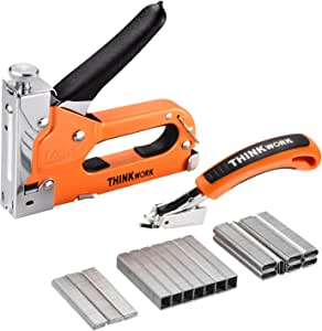 THINKWORK 3-in-1 Staple Gun, Nailer Gun with 2100 Staples and Stapler Remover, Manual Stapler, Heavy Duty Staple Kit for Upholstery, DIY, Fixing Material, Decoration, Carpentry, Furniture