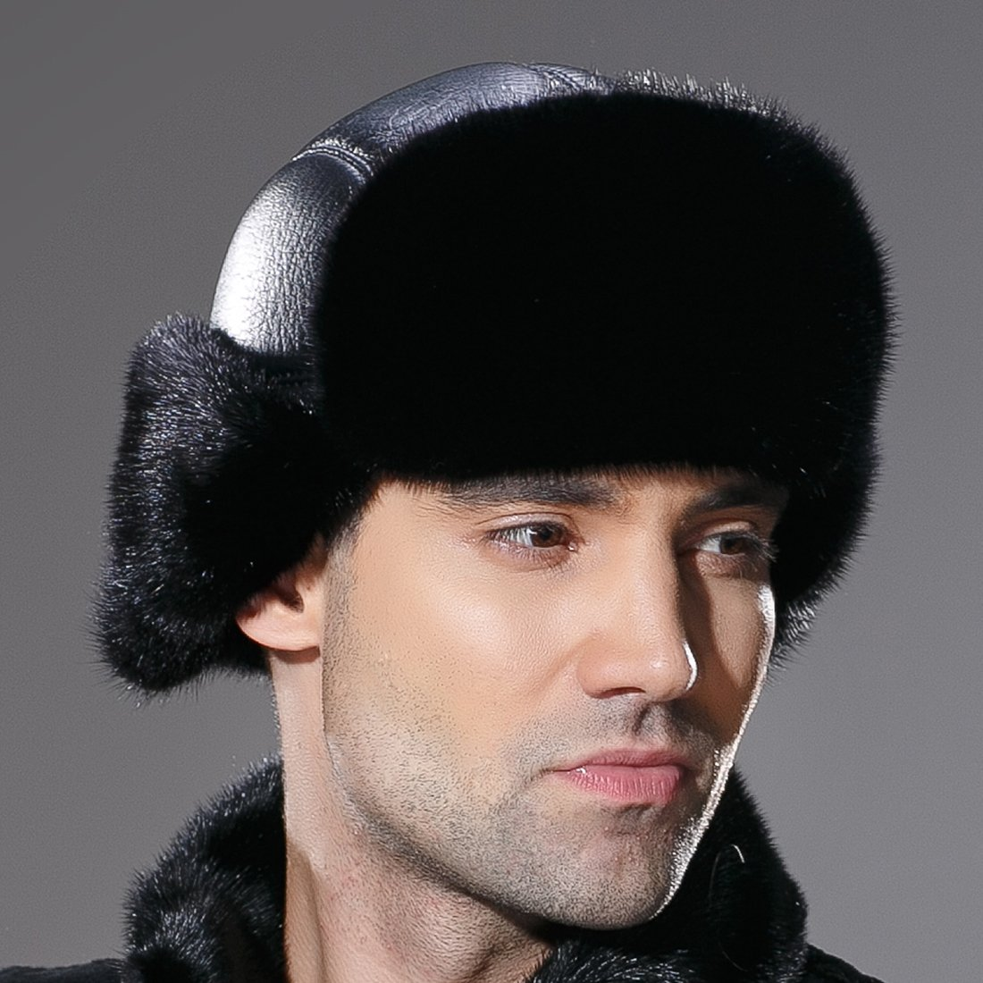 URSFUR Winter Leather Men Fur Hat Real Mink Fur Russian Trapper Hats Black by URSFUR (Image #7)