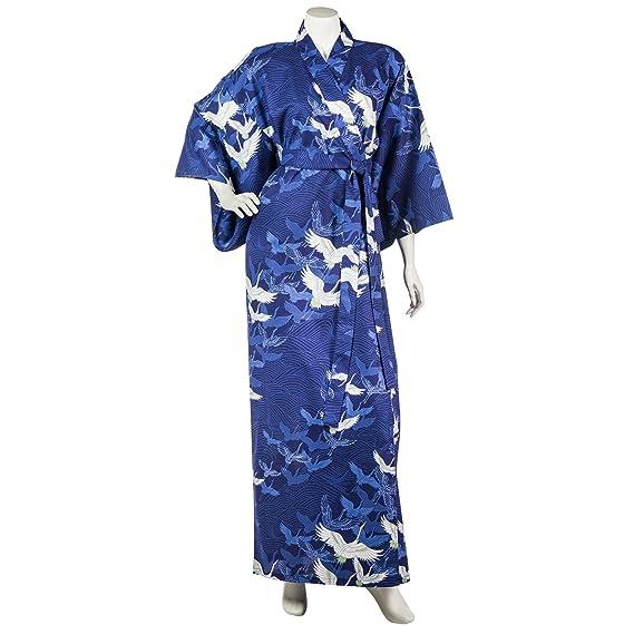 38d79b4cfa Navy Blue Crane Long Japanese Cotton Kimono  Amazon.co.uk  Clothing