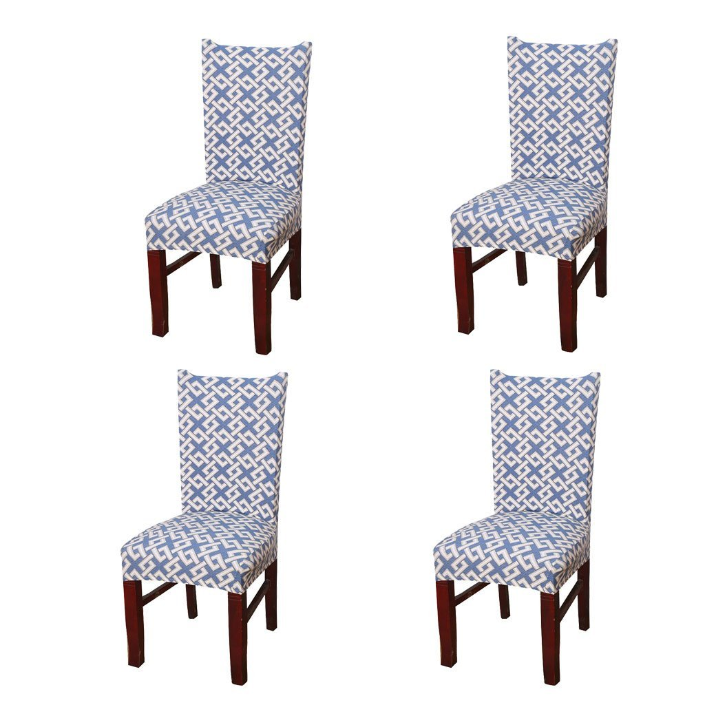 SoulFeel 4 x Soft Fit Stretchable Dining Chair Covers with Printed Pattern, Spandex Banquet Chair Seat Protector Slipcovers for Holiday Home Party, Hotel, Wedding Ceremony (Style 29, Maze 01)