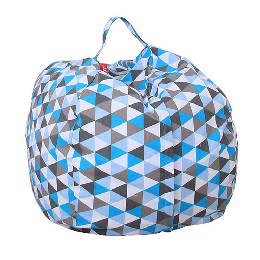 Stuffed Animal Storage Kids' Bean Bag Chair, Ehonestbuy Cotton Canvas Toy Organizer for Kids Bedroom, Storage Solution for Plush Toys, Blankets, Towels & Clothes (26 Inch, Rhombus)