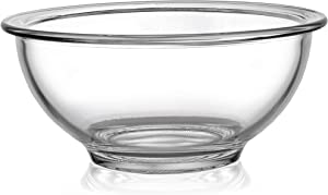 Bovado SMALL Glass Bowl for Storage, Mixing, Serving - Clear, Dishwasher, Freezer & Oven Safe Glass, Easy-Clean, 1 QT