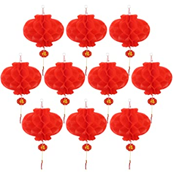 10 pack lanterns decorations red for chinese new year spring 10 pack lanterns decorations red for chinese new year spring festival wedding restaurant junglespirit Images