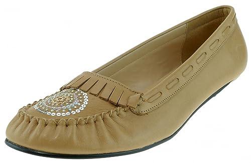 CHILLANY - Mocasines de Piel para mujer Beige naturaleza, color Beige, talla 39: Amazon.es: Zapatos y complementos
