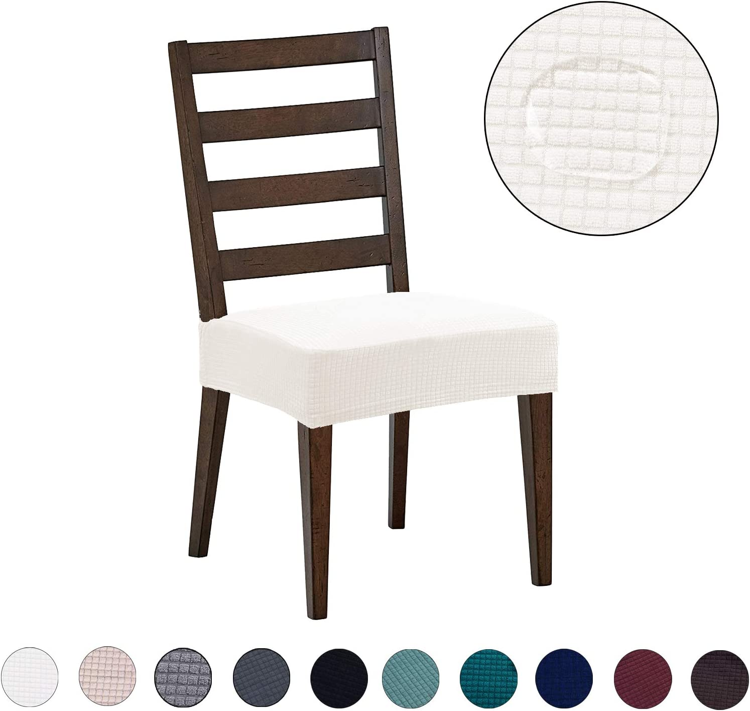 Dining Chair Covers 2 Pack Water Repellent Easy To Install High Stretch Dining Room Chair Seat Slipcover Protector Shield For Dog Cat Pets Off White Amazon Co Uk Kitchen Home