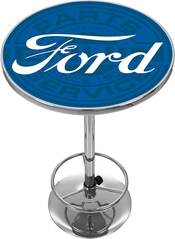 Ford Genuine Parts Trademark Gameroom Ford Chrome Pub Table