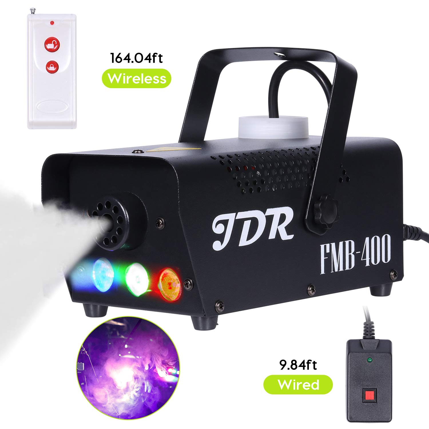 JDR Fog Machine with Controllable lights, DJ LED Smoke Machine(Red,Green,Blue) with Wireless and Wired Remote Control for Holidays Parties Weddings Christmas Halloween, with Fuse Protection