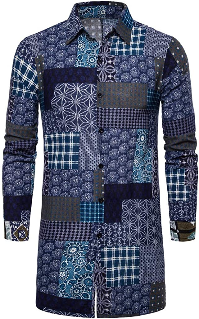Graphic Button Down Shirts for Men Long Sleeve Slim Fit African Print Comfort Autumn Fashion Long Blouse Tops
