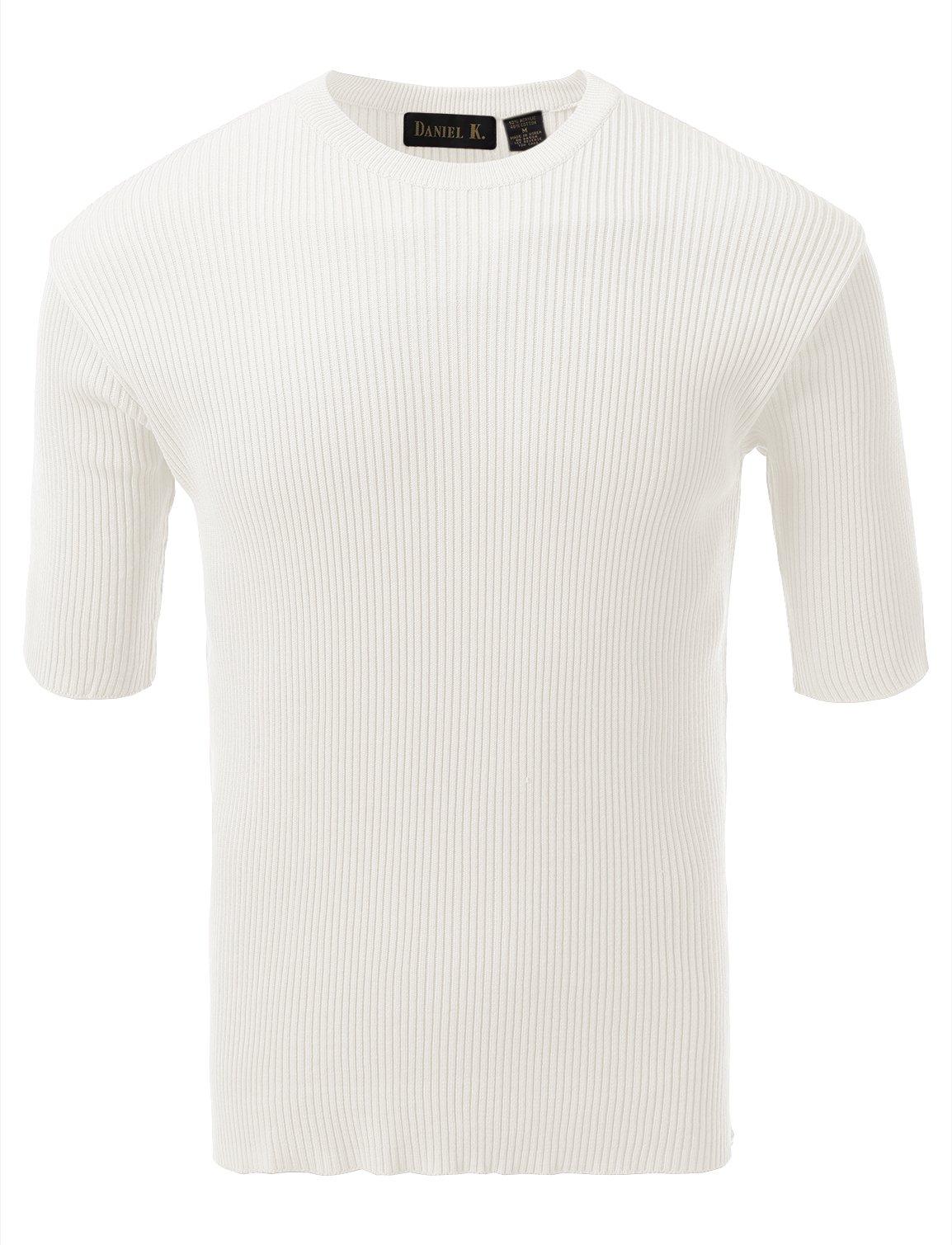 7 Encounter Men's Crewneck Short Sleeve Small Ribbed Sweater Cream S