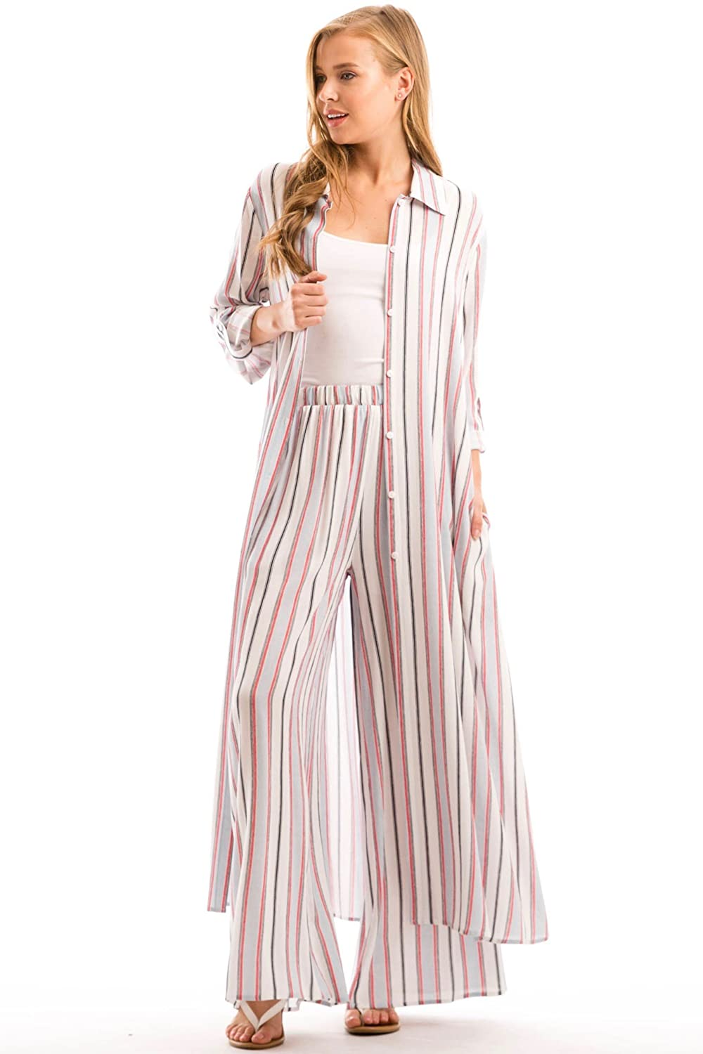 11f56e938f07 YFH Multi Stripe Collared Button Down Oversized Maxi Shirt Dress with  Pocket at Amazon Women s Clothing store