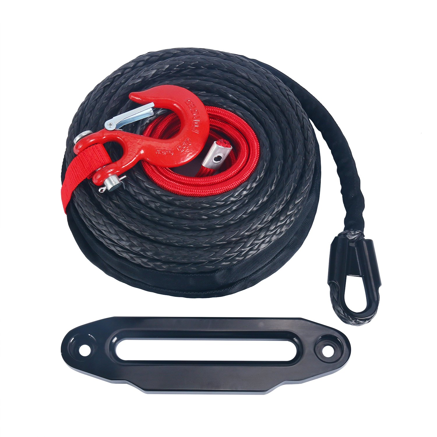 1/2'' x 92ft Synthetic Winch Rope Cable Line w/Protective Sleeve 22000 LBs + 10'' Aluminum Black Hawse Fairlead + Red Hook Compatible with Jeep ATV UTV SUV Truck Boat Ramsey by YAETEK