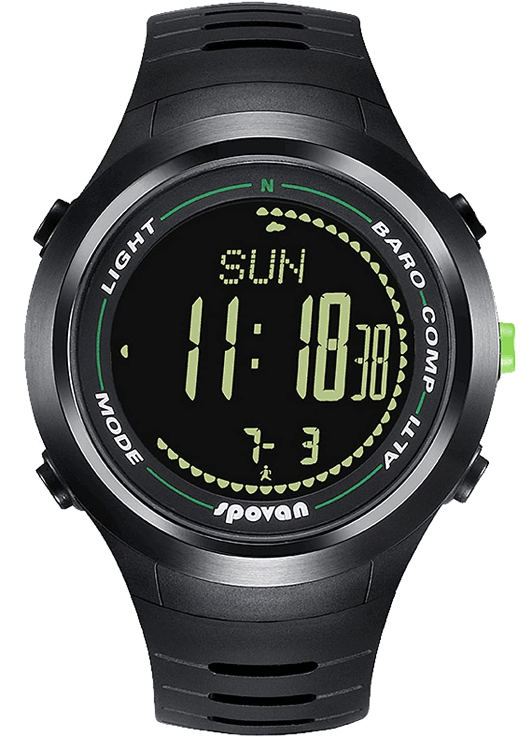 Spovan Digital Compass Altimeter Barometer Thermometer Outdoor Sports Fitness Watches Black