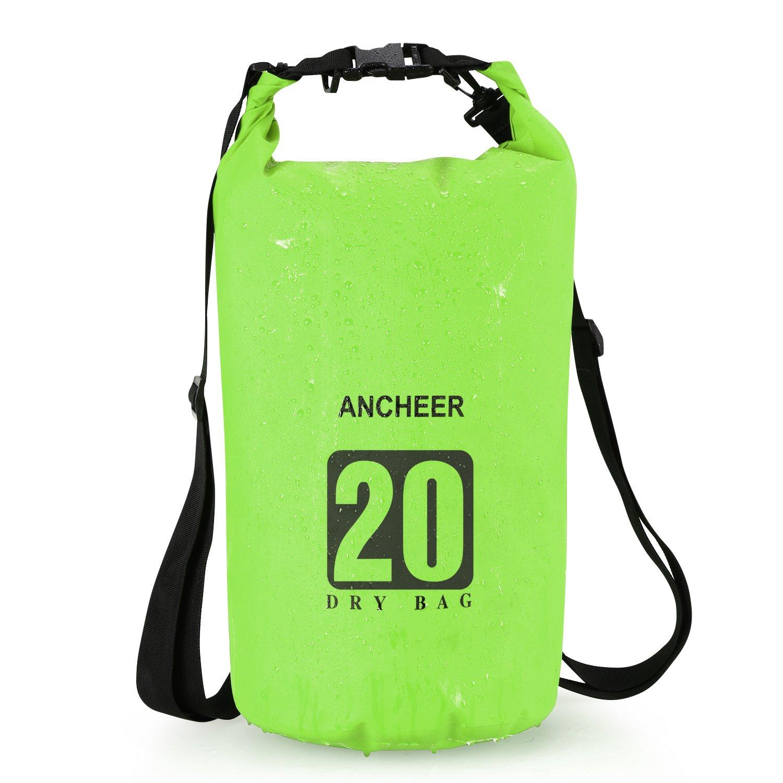 Ancheer ドライバッグ防水 ロールトップ ドライパック袋 カヤックビーチ ラフティング ボート ハイキング キャンプ 釣り 10 L / 20 L 5色 B072FNV6VM グリーン 10 L
