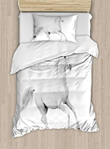 Ambesonne Black and White Duvet Cover Set, White Stallion Running Horse Galloping Motion Speed Print, Decorative 2 Piece Bedding Set with 1 Pillow Sham, Twin Size, White Black