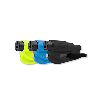 RESQME Family Pack of 3, The Original Emergency Keychain Car Escape Tool, 2-in-1 Seatbelt Cutter and Window Breaker, Made in USA, Black, Blue, Safety Yellow: Automotive