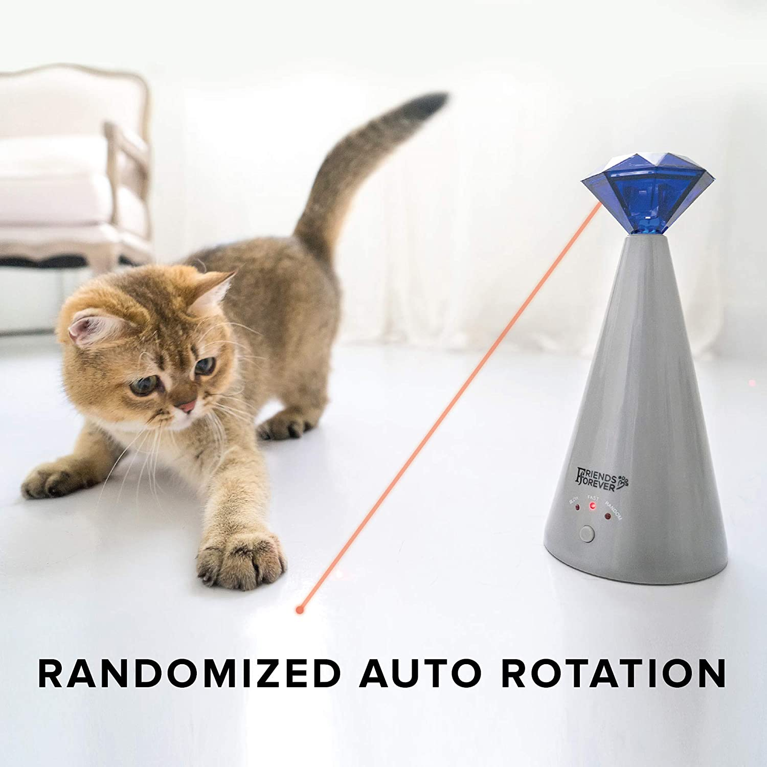 Friends Forever Interactive Cat Laser Toy - Pet Laser Pointer for Cats Automatic Rotating Catch Training, Adjustable 3 Speed Mode