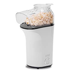 DASH Popcorn Machine: Hot Air Popcorn Popper + Popcorn Maker with Measuring Cup to Measure Popcorn Kernels + Melt Butter - White