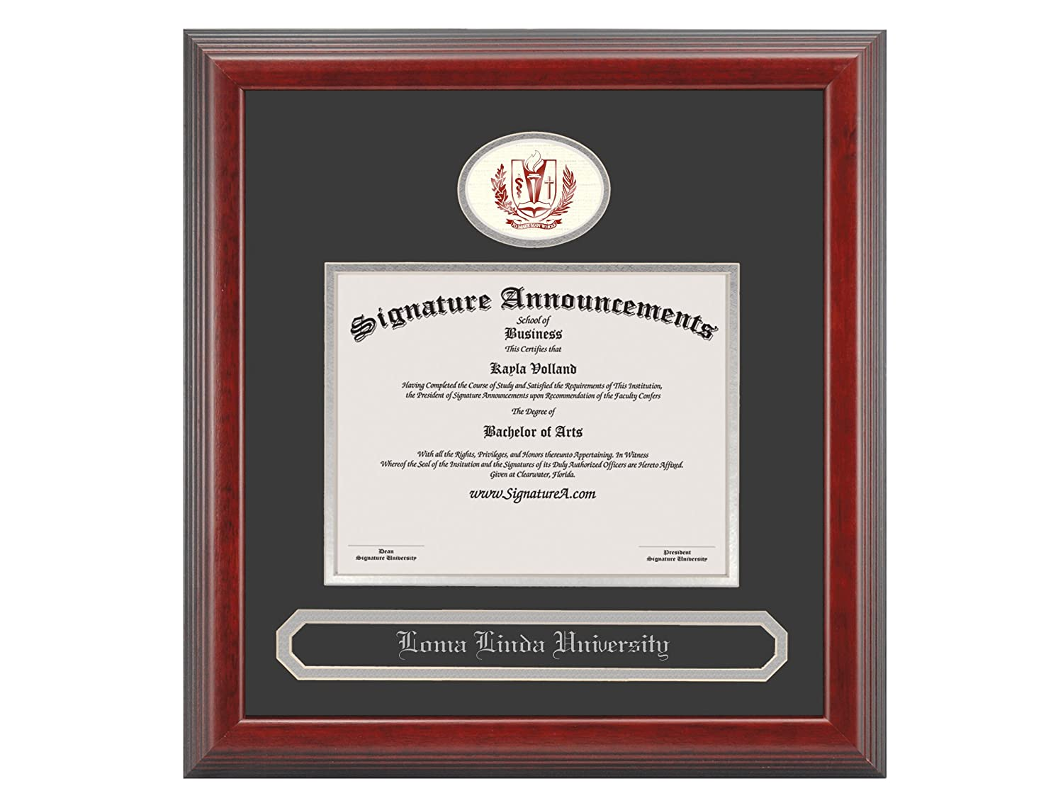 Signature Announcements Loma-Linda-University Doctorate Sculpted Foil Seal /& Name Graduation Diploma Frame 20 x 20 Cherry